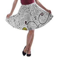 Abstract Pattern A-line Skater Skirt