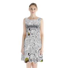 Abstract Pattern Sleeveless Chiffon Waist Tie Dress
