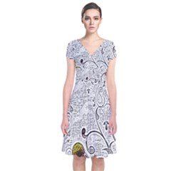 Abstract Pattern Short Sleeve Front Wrap Dress