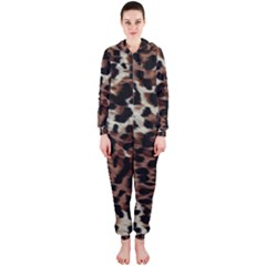 Background Fabric Animal Motifs Hooded Jumpsuit (Ladies)
