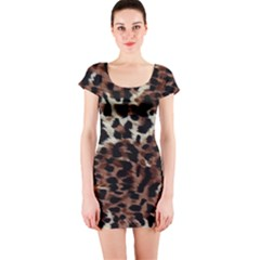 Background Fabric Animal Motifs Short Sleeve Bodycon Dress