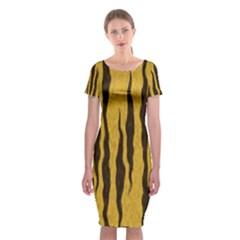 Seamless Fur Pattern Classic Short Sleeve Midi Dress