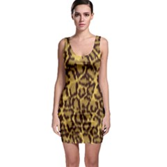 Seamless Animal Fur Pattern Sleeveless Bodycon Dress