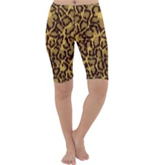 Seamless Animal Fur Pattern Cropped Leggings