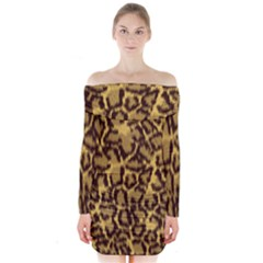 Seamless Animal Fur Pattern Long Sleeve Off Shoulder Dress