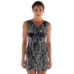 Gray Background Pattern Wrap Front Bodycon Dress