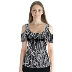 Gray Background Pattern Butterfly Sleeve Cutout Tee