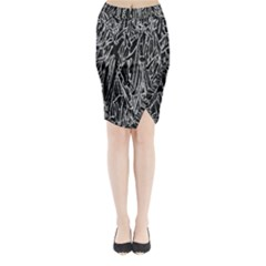 Gray Background Pattern Midi Wrap Pencil Skirt