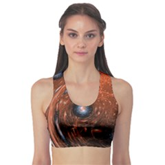 Fractal Peacock World Background Sports Bra