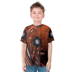 Fractal Peacock World Background Kids  Cotton Tee