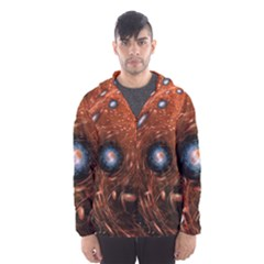 Fractal Peacock World Background Hooded Wind Breaker (Men)