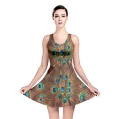 Peacock Pattern Background Reversible Skater Dress