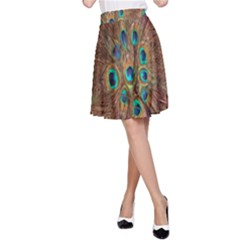 Peacock Pattern Background A-Line Skirt
