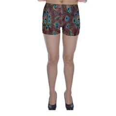 Peacock Pattern Background Skinny Shorts