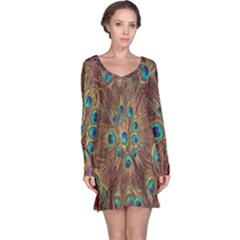Peacock Pattern Background Long Sleeve Nightdress