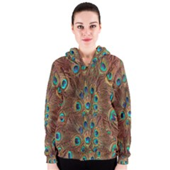 Peacock Pattern Background Women s Zipper Hoodie