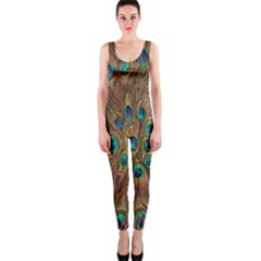 Peacock Pattern Background OnePiece Catsuit