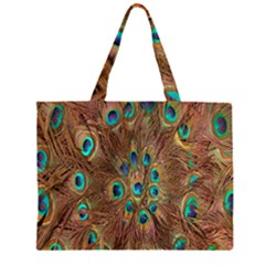 Peacock Pattern Background Large Tote Bag