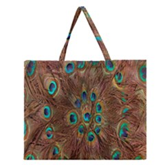 Peacock Pattern Background Zipper Large Tote Bag