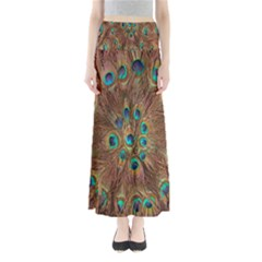 Peacock Pattern Background Maxi Skirts