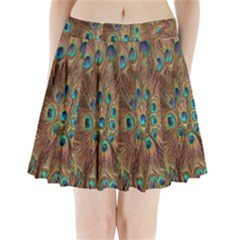 Peacock Pattern Background Pleated Mini Skirt