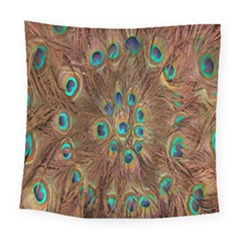 Peacock Pattern Background Square Tapestry (large)
