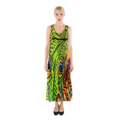 Glass Tile Peacock Feathers Sleeveless Maxi Dress