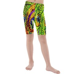 Glass Tile Peacock Feathers Kids  Mid Length Swim Shorts