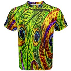 Glass Tile Peacock Feathers Men s Cotton Tee