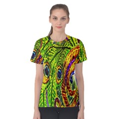 Glass Tile Peacock Feathers Women s Cotton Tee