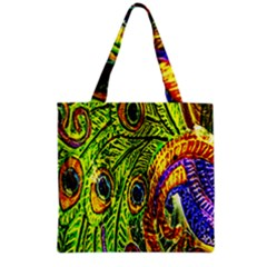 Glass Tile Peacock Feathers Grocery Tote Bag