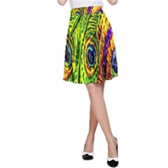 Glass Tile Peacock Feathers A-Line Skirt