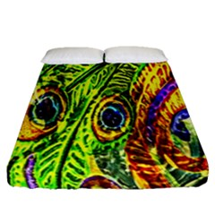 Glass Tile Peacock Feathers Fitted Sheet (queen Size)
