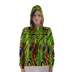 Glass Tile Peacock Feathers Hooded Wind Breaker (Women)