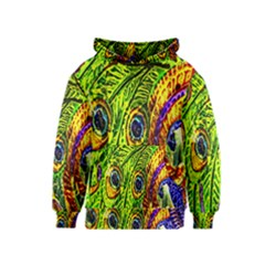 Glass Tile Peacock Feathers Kids  Pullover Hoodie