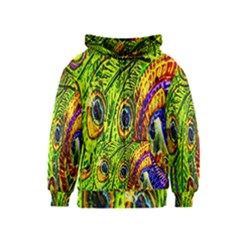 Glass Tile Peacock Feathers Kids  Zipper Hoodie
