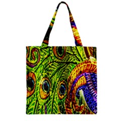 Glass Tile Peacock Feathers Zipper Grocery Tote Bag