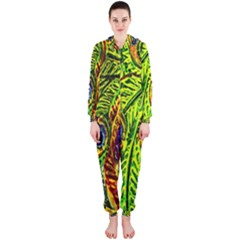 Glass Tile Peacock Feathers Hooded Jumpsuit (ladies)