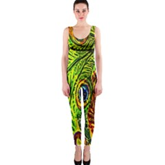 Glass Tile Peacock Feathers Onepiece Catsuit