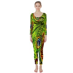 Glass Tile Peacock Feathers Long Sleeve Catsuit