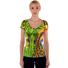 Glass Tile Peacock Feathers Women s V-Neck Cap Sleeve Top