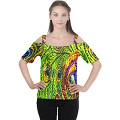 Glass Tile Peacock Feathers Women s Cutout Shoulder Tee