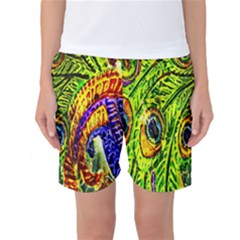 Glass Tile Peacock Feathers Women s Basketball Shorts