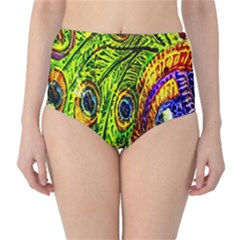 Glass Tile Peacock Feathers High Waist Bikini Bottoms
