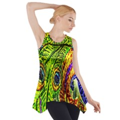 Glass Tile Peacock Feathers Side Drop Tank Tunic