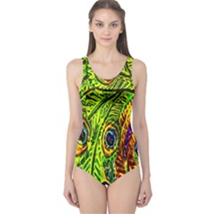 Glass Tile Peacock Feathers One Piece Swimsuit