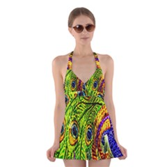 Glass Tile Peacock Feathers Halter Swimsuit Dress