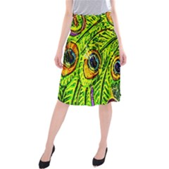 Glass Tile Peacock Feathers Midi Beach Skirt