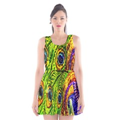 Glass Tile Peacock Feathers Scoop Neck Skater Dress