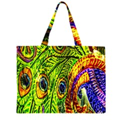 Glass Tile Peacock Feathers Large Tote Bag